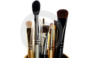 Makeup brushes in a container Stock Photo