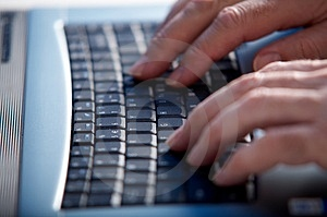 Hand on keyboard Stock Photography