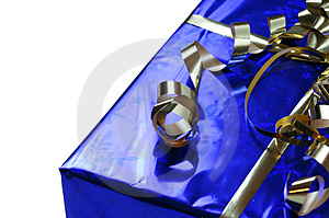 Shiny Blue Gift With Gold Ribbons Royalty Free Stock Photography - Image: 4644677