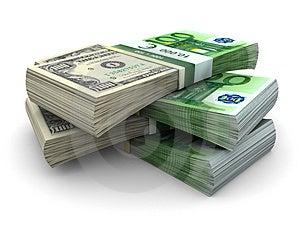 Stapel Von Eurodollar 100 Stockfotografie - Bild: 4653262