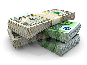 Stack Of $100 And 100€ Bills Royalty Free Stock Images - Image: 4653339