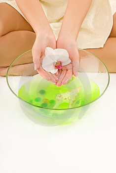 Hands in aroma water Stock Photo