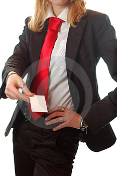 Pretty Business Woman Holding A Business Card Stock Images - Image: 4666394