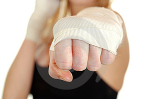 Fitness woman boxing isolated background