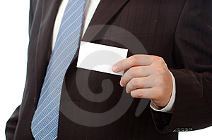 Business man showing a business card Royalty Free Stock Images