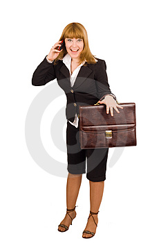 Businesswoman Joy After Hearing  Good News Royalty Free Stock Image - Image: 4673286