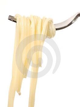 Spaghetti su una forcella Immagine Stock