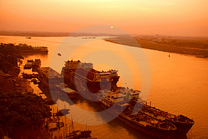 A City Port In Sunrise Royalty Free Stock Photos - Image: 4705768