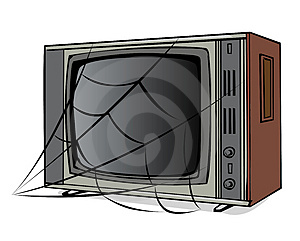 The Old TV With A Web Royalty Free Stock Image - Image: 4715286