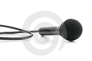 Classic Black Microphone Lying On White Stock Photo - Image: 4744230