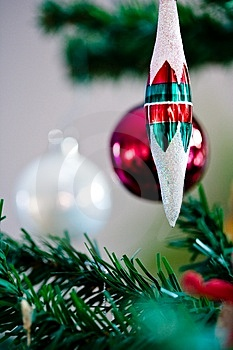 Christmas ornament hanging from a christmas tree Stock Photography