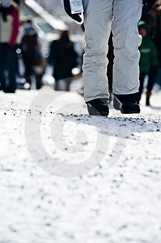 A Person Walking At A Ski Resort Royalty Free Stock Photography - Image: 4752417