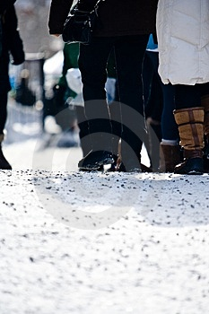 People Walking At A Ski Resort Stock Image - Image: 4752421