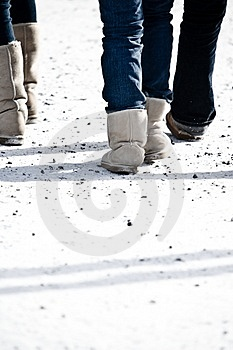 People Walking At A Ski Resort Royalty Free Stock Image - Image: 4752426