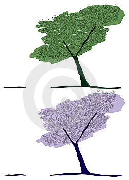 Green tree and flower tree Royalty Free Stock Photography