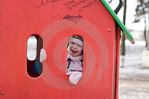 Girl Play Hide-and-seek At Playground Royalty Free Stock Photos - Image: 4754068