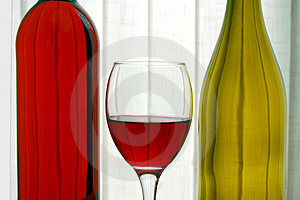 Wine Bottles with Wine Glass Royalty Free Stock Photography