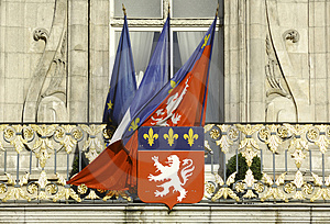 France; Lyon Or Lyons: Flags At The City Hall Stock Photos - Image: 4765483