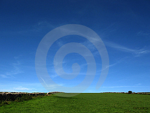 Saturated Blue Sky And Green Field Royalty Free Stock Photography - Image: 4773197