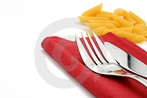 Fork And Knife On Red Napkin Stock Image - Image: 4783441