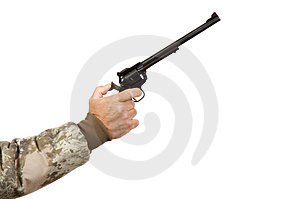 Single-action PIstol Shooter Isolated Stock Image - Image: 4795411