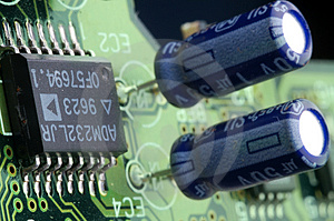 Close-up Chip On Green Motherboard Royalty Free Stock Photography - Image: 4808007