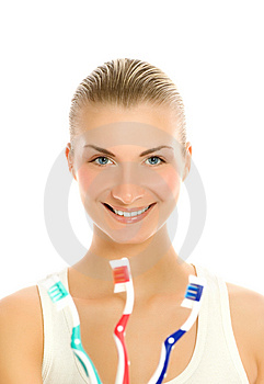 Woman with  toothbrushes Royalty Free Stock Photo