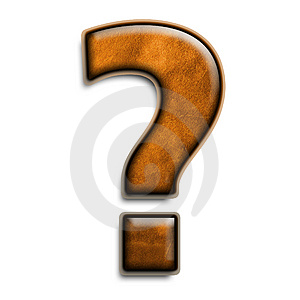 Brown leather question mark Stock Photos