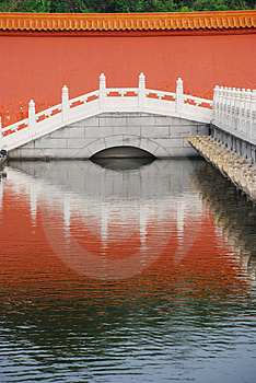The Marble Bridge And Moat Stock Images - Image: 4821654