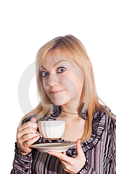 Girl With Cup Of Coffee Stock Photography - Image: 4835322