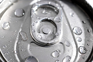 Macro of a can of soda Royalty Free Stock Photos
