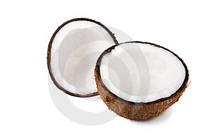 Coconut halves Stock Image