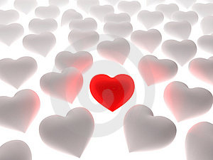 Red Heart In A Crowd Of White Hearts Royalty Free Stock Photos - Image: 4850638