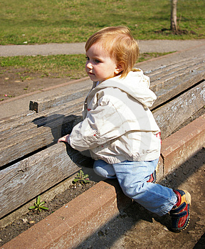 Small Girl On The Neglected Stadium Royalty Free Stock Image - Image: 4861726