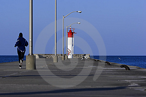 Running To The End Of A Pier Royalty Free Stock Photos - Image: 4882018