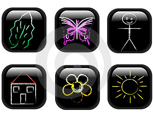Web Buttons With Child Like Dr Royalty Free Stock Images - Image: 4891449