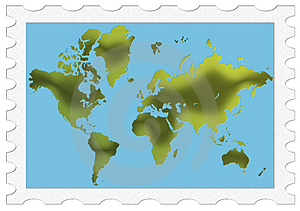 Green World Map Stamp Royalty Free Stock Photography - Image: 4898257