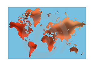 Red World Map Stock Images - Image: 4898314