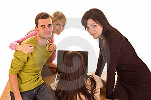 Group of students with laptop on white Stock Photos