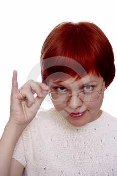 Red Haired Girl In The Glass Stock Image - Image: 498719