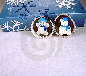 Snowman On Chocolate. Royalty Free Stock Images - Image: 499209