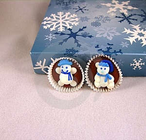 Snowman On Chocolate Royalty Free Stock Image - Image: 499816