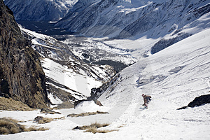 Ski Freeride In High Mountains Stock Photo - Image: 4900700