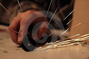 Sparks From The Working Machine Stock Images - Image: 4905384