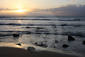 Beach Scape At Sunset Stock Image - Image: 4914261