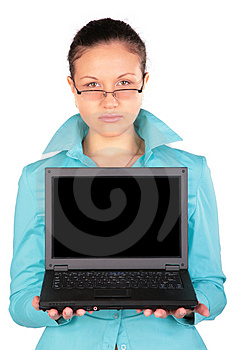 Young Woman Shows Notebook Stock Images - Image: 4915424