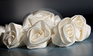 Artificial Flowers White Atlas For An Ornament Hai Stock Photo - Image: 4918500