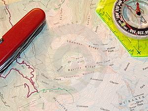 Map And Compass Stock Photo