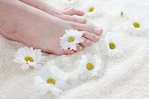 Female feet with white daisies.