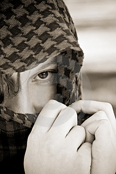 Hidden Woman On Veil Royalty Free Stock Images - Image: 4932489